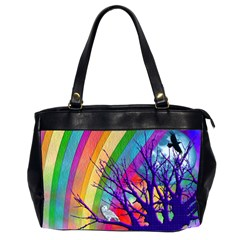 Rainbow Moon Oversize Office Handbag (two Sides)