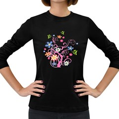 Flowery Flower Women s Long Sleeve T-shirt (Dark Colored)