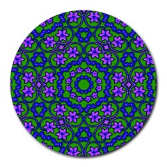 Retro Flower Pattern  8  Mouse Pad (round)