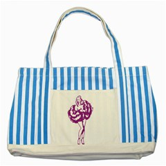 Pin Up Blue Striped Tote Bag