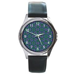 Retro Flower Pattern  Round Leather Watch (silver Rim)