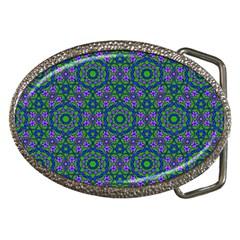 Retro Flower Pattern  Belt Buckle (oval)