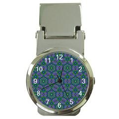 Retro Flower Pattern  Money Clip With Watch