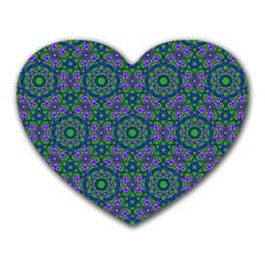 Retro Flower Pattern  Mouse Pad (heart)