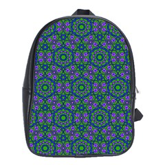 Retro Flower Pattern  School Bag (xl)