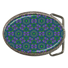 Retro Flower Pattern  Belt Buckle (oval)