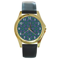 Retro Flower Pattern  Round Leather Watch (gold Rim)