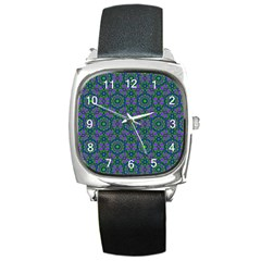 Retro Flower Pattern  Square Leather Watch