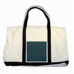 Retro Flower Pattern  Two Toned Tote Bag