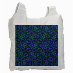 Retro Flower Pattern  White Reusable Bag (Two Sides)
