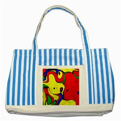 Abstract Blue Striped Tote Bag