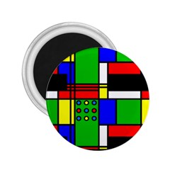 Mondrian 2 25  Button Magnet