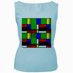 Mondrian Women s Tank Top (Baby Blue)