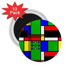 Mondrian 2.25  Button Magnet (10 pack)