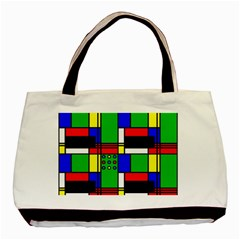 Mondrian Twin-sided Black Tote Bag