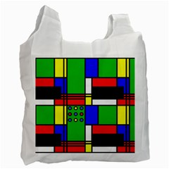 Mondrian White Reusable Bag (One Side)