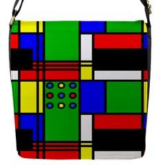 Mondrian Flap Closure Messenger Bag (small)