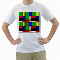 Mondrian Men s T-Shirt (White)