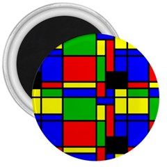 Mondrian 3  Button Magnet