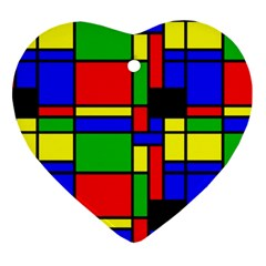 Mondrian Heart Ornament