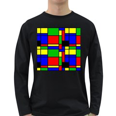 Mondrian Men s Long Sleeve T Shirt (dark Colored)