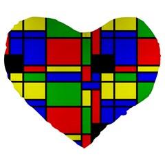 Mondrian 19  Premium Heart Shape Cushion