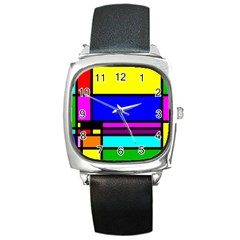 Mondrian Square Leather Watch