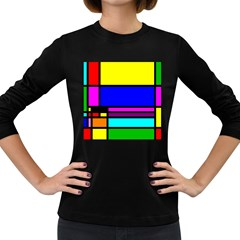 Mondrian Women s Long Sleeve T-shirt (Dark Colored)