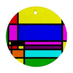 Mondrian Round Ornament (two Sides)