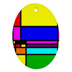 Mondrian Oval Ornament (two Sides)