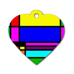 Mondrian Dog Tag Heart (two Sided)