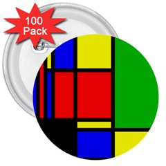 Mondrian 3  Button (100 Pack)