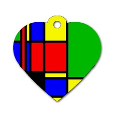 Mondrian Dog Tag Heart (one Sided)
