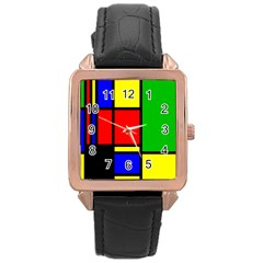 Mondrian Rose Gold Leather Watch
