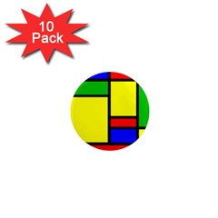 Mondrian 1  Mini Button Magnet (10 pack)