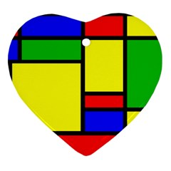 Mondrian Heart Ornament (Two Sides)