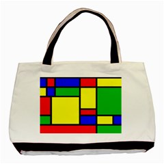 Mondrian Twin Sided Black Tote Bag