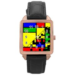 Moderne Rose Gold Leather Watch