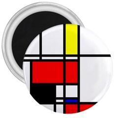 Mondrian 3  Button Magnet
