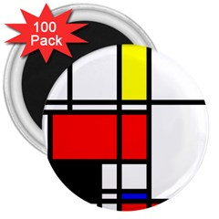 Mondrian 3  Button Magnet (100 pack)