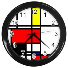 Mondrian Wall Clock (Black)