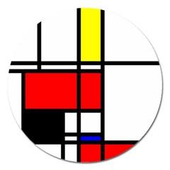Mondrian Magnet 5  (round)