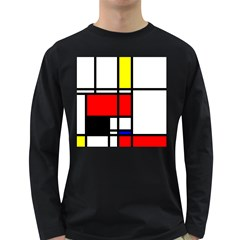 Mondrian Men s Long Sleeve T-shirt (Dark Colored)