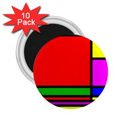 Mondrian 2 25  Button Magnet (10 Pack)
