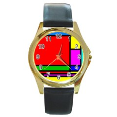 Mondrian Round Leather Watch (gold Rim)