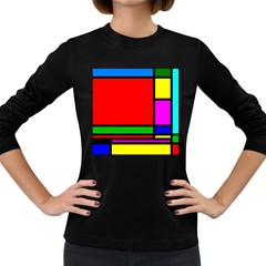 Mondrian Women s Long Sleeve T Shirt (dark Colored)