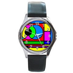 Mondrian Round Leather Watch (Silver Rim)