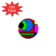 Mondrian 1  Mini Button Magnet (100 Pack)