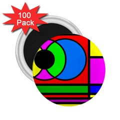Mondrian 2 25  Button Magnet (100 Pack)