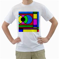 Mondrian Men s T-Shirt (White)
